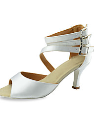 Women's Dance Shoes Latin/Ballroom Satin Stiletto Heel White Customizable
