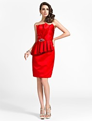 cheap -Sheath / Column Scalloped Neckline Knee Length Satin Cocktail Party Dress with Beading / Draping / Side Draping by TS Couture®