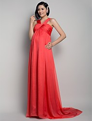 A-Line Straps Sweep / Brush Train Chiffon Formal Evening Dress with Draping Criss Cross by TS Couture®