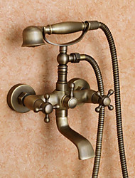Antique Tub And Shower Handshower Included with  Ceramic Valve Two Holes Two Handles Two Holes for  Antique Brass , Shower Faucet Bathtub
