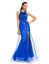 cheap -Sheath / Column Jewel Neck Floor Length Tulle / Sequined Sparkle & Shine Prom / Formal Evening Dress with Sash / Ribbon / Split Front by TS Couture®
