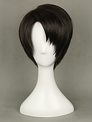 cheap -Cosplay Wigs Attack on Titan Levy Black Short Anime Cosplay Wigs 35 CM Heat Resistant Fiber Male