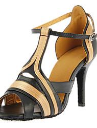Women's Dance Shoes Latin/Ballroom Satin/Leatherette Heel Black Customizable