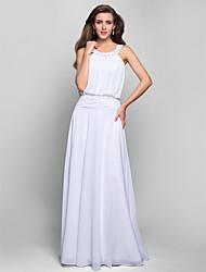 A-kroj Ovalni izrez Do poda Šifon Prom Formalna večer Svečana priredba Haljina s Perlica Aplikacije Drapirano Nabrano po TS Couture®
