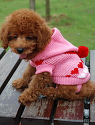 Gato Cachorro Súeters Camisola com Capuz Roupas para Cães Corações Cor Aleatória Ocasiões Especiais Para animais de estimação