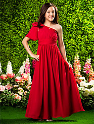 cheap -A-Line / Princess One Shoulder Floor Length Chiffon Junior Bridesmaid Dress with Beading / Bow(s) / Draping by LAN TING BRIDE® / Spring / Summer / Fall / Apple / Hourglass