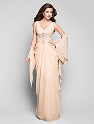 Kroj uz tijelo V izrez Do poda Šifon Formalna večer Svečana priredba Haljina s Perlica Nabrano Drapirano sa strane po TS Couture®
