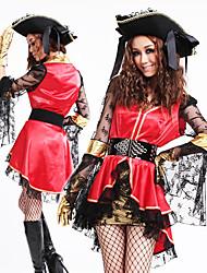 Недорогие -Пиратская принцесса Красный и Черный костюм органза Женские