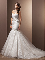 cheap -Mermaid / Trumpet Sweetheart Neckline Chapel Train Organza / Floral Lace Made-To-Measure Wedding Dresses with Beading / Appliques /