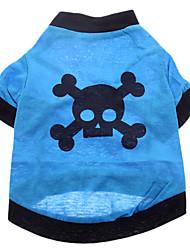 Hunde Kostüme / T-shirt / Austattungen Blau Hundekleidung Sommer Totenkopf Motiv Cosplay / Halloween