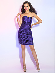 Sheath / Column Strapless Short / Mini Satin Cocktail Party Dress with Beading Flower(s) Side Draping by TS Couture®