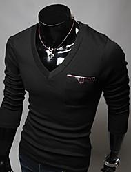 T-Shirt Slim à Manches Longues, Col en V
