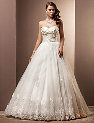 A-Line Princess Sweetheart Court Train Satin Tulle Wedding Dress with Beading Appliques Criss-Cross Ruche by LAN TING BRIDE®