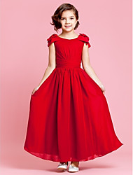 cheap -A-Line / Princess Ankle Length Flower Girl Dress - Chiffon Sleeveless Jewel Neck with Bow(s) / Buttons / Draping by LAN TING BRIDE® / Spring / Summer / Fall