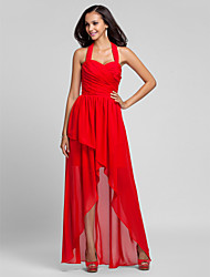 A-Line Princess Halter Floor Length Asymmetrical Chiffon Bridesmaid Dress with Draping Criss Cross by LAN TING BRIDE®