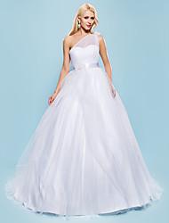Ballkleid Ein-Schulter Hof Schleppe Tüll Hochzeitskleid mit Perlenstickerei Schärpe / Band Schleife Blume Seiten-drapiert durch LAN TING