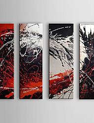 abordables -Peinture à l'huile Hang-peint Peint à la main - Abstrait Toile Quatre Panneaux