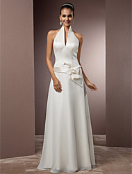 Sheath / Column Halter Floor Length Chiffon Satin Wedding Dress with Sash / Ribbon by LAN TING BRIDE®