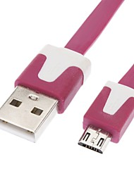 abordables -Micro USB a USB macho a macho Cable de datos para Samsung / Huawei / ZTE / Nokia / HTC / Sony Ericson Flat Tipo Rose Red (1M)