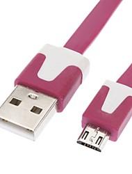 Micro USB auf USB Stecker auf Stecker Datenkabel für Samsung / Huawei / ZTE / Nokia / HTC / Sony Ericson Wohnung Typ Rose Red (1M)