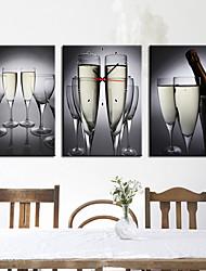 Недорогие -современный стиль напитка цветочные часы стены в холст 3шт