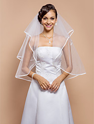 cheap -Two-tier Ribbon Edge Wedding Veil Elbow Veils 53 Rhinestone 31.5 in (80cm) Tulle A-line, Ball Gown, Princess, Sheath/ Column, Trumpet/