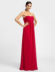 cheap -Sheath / Column Sweetheart Floor Length Chiffon Dress with Criss Cross by LAN TING BRIDE®