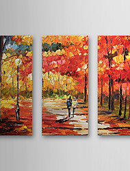cheap -Hand-Painted Landscape Three Panels Canvas Oil Painting For Home Decoration
