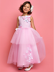 A-Line Ankle Length Flower Girl Dress - Tulle Sleeveless Jewel Neck by LAN TING BRIDE®