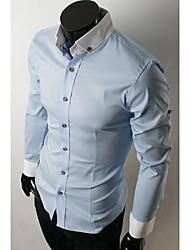 billige -Herre-Ensfarvet Farveblok Basale Skjorte