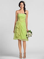 Sheath / Column Strapless Knee Length Chiffon Bridesmaid Dress with Beading Appliques Side Draping Tassel(s) by LAN TING BRIDE®