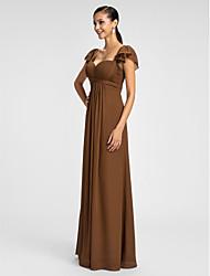 cheap -Sheath / Column Spaghetti Straps Sweetheart Floor Length Chiffon Bridesmaid Dress with Ruffles Criss Cross by LAN TING BRIDE®