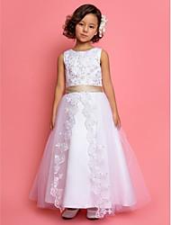 Um vestido de menina de flor de comprimento de tornozelo de uma linha - joelho de jóias sem mangas de tul por lan ting bride®