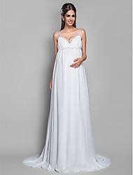 baratos -Lanting Bride® Tubinho Gravidez Vestido de Noiva - Clássico e atemporal Cauda Escova Com Alças Finas Chiffon com