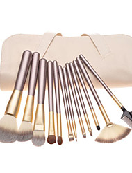 cheap -12pcs Pony hair Makeup Brushes set Coffee concealer/powder/blush brush eyeshadow/eyelash//brow/lip brush With Off-white Leather Pouch