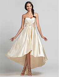 Sheath / Column Sweetheart Asymmetrical Stretch Satin Bridesmaid Dress with Beading Draping Criss Cross by LAN TING BRIDE®