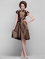 cheap -Sheath / Column Jewel Neck Knee-length Taffeta Mother of the Bride Dress with Flower(s) by LAN TING BRIDE®