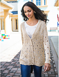 cheap -Women's Street chic Cardigan - Solid Colored, Hole