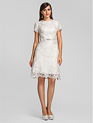 cheap -A-Line Jewel Neck Knee Length Lace Cocktail Party Dress with Lace / Crystal Brooch by TS Couture®