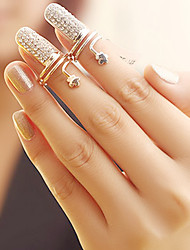 cheap -Women's Nail Finger Ring - Rhinestone, Alloy Fashion 6 / 7 Silver / Golden For Party / Daily