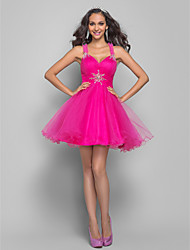 A-Line Straps Short / Mini Tulle Prom Dress with Crystal Ruching by TS Couture®