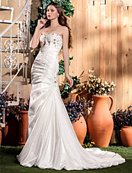 Mermaid / Trumpet Sweetheart Court Train Taffeta Wedding Dress with Beading Appliques Side-Draped by LAN TING BRIDE®