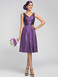 cheap -A-Line V Neck Knee Length Taffeta Bridesmaid Dress with Draping / Side Draping / Criss Cross by LAN TING BRIDE® / Beautiful Back