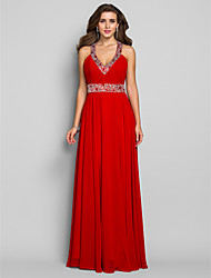 Sheath / Column V-neck Floor Length Chiffon Prom Dress with Crystal by TS Couture®