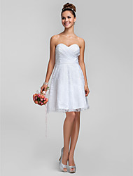 cheap -A-Line Princess Sweetheart Knee Length Lace Bridesmaid Dress with Lace Criss Cross by LAN TING BRIDE®