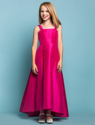 cheap -A-Line Straps Asymmetrical Taffeta Junior Bridesmaid Dress with Sash / Ribbon by LAN TING BRIDE®