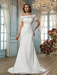 cheap -Mermaid / Trumpet Off-the-shoulder Sweep / Brush Train Chiffon Lace Wedding Dress with Sash / Ribbon by LAN TING BRIDE®