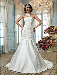 cheap -Mermaid / Trumpet One Shoulder Court Train Tulle Wedding Dress with Beading Appliques Flower by LAN TING BRIDE®