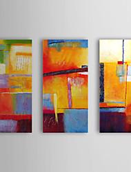 billige -Hånd-malede Abstrakt Horisontal Lærred Hang-Painted Oliemaleri Hjem Dekoration Tre Paneler