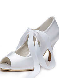 cheap -Tasteful Satin Peep Toe High Heel Pumps with Lace-up Wedding Shoes